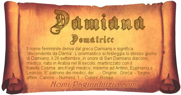 Nome Damiana