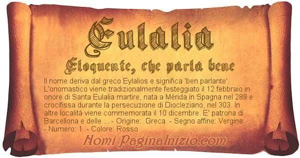 Nome Eulalia
