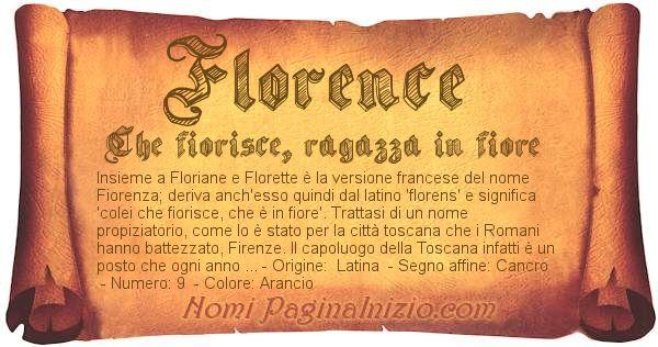 Pergamena col nome https://www.paginainizio.com/nomi/imgnomi/florence.jpg