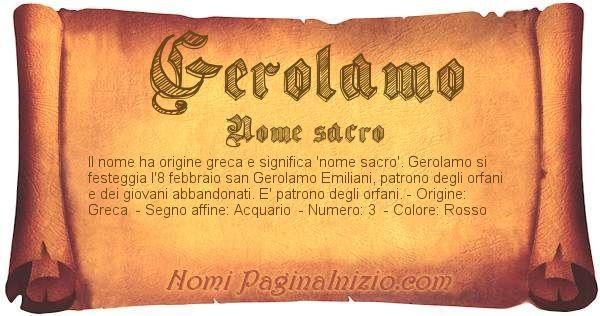 Nome Gerolamo