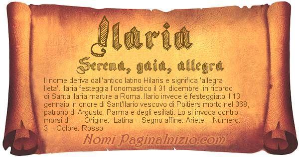 Nome Ilaria