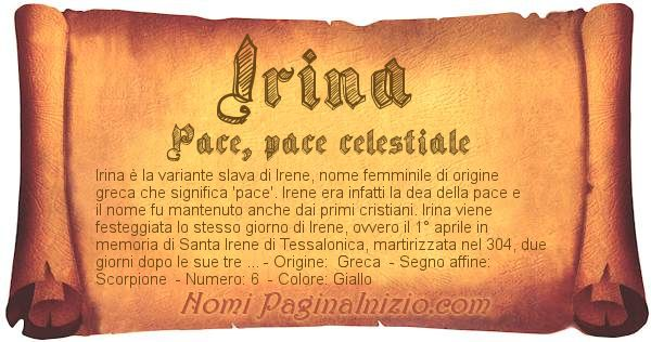 Nome Irina