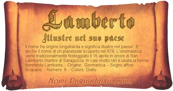 Nome Lamberto