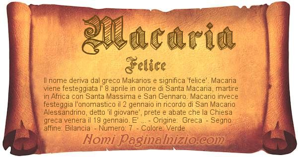 Nome Macaria