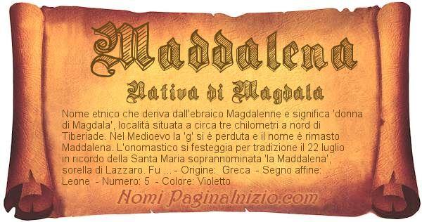 Nome Maddalena