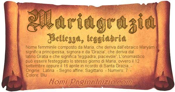 Nome Mariagrazia