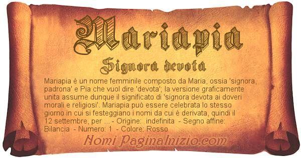 Nome Mariapia