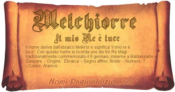 Significato Del Nome Melchiorre