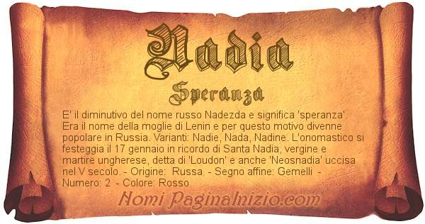 Nome Nadia
