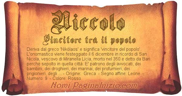 Nome NiccolÒ
