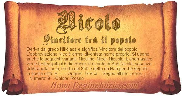 Nome NicolÒ