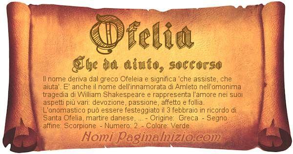 Nome Ofelia