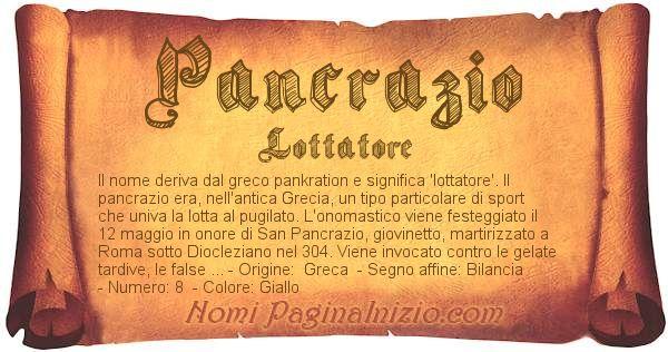 Nome Pancrazio