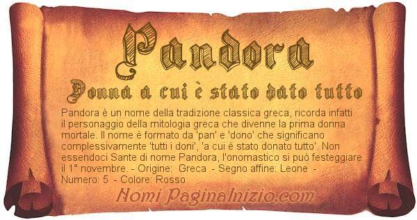 Pandora: significato del nome, curiosità, onomastico