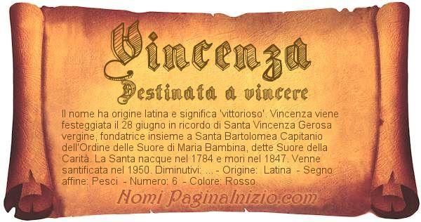Nome Vincenza
